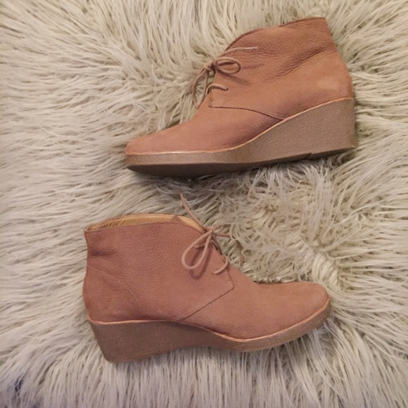 69586871d413 Lucky Brand Shoes - Lucky Brand Tan Suede 2-inch Wedge Ankle Boots